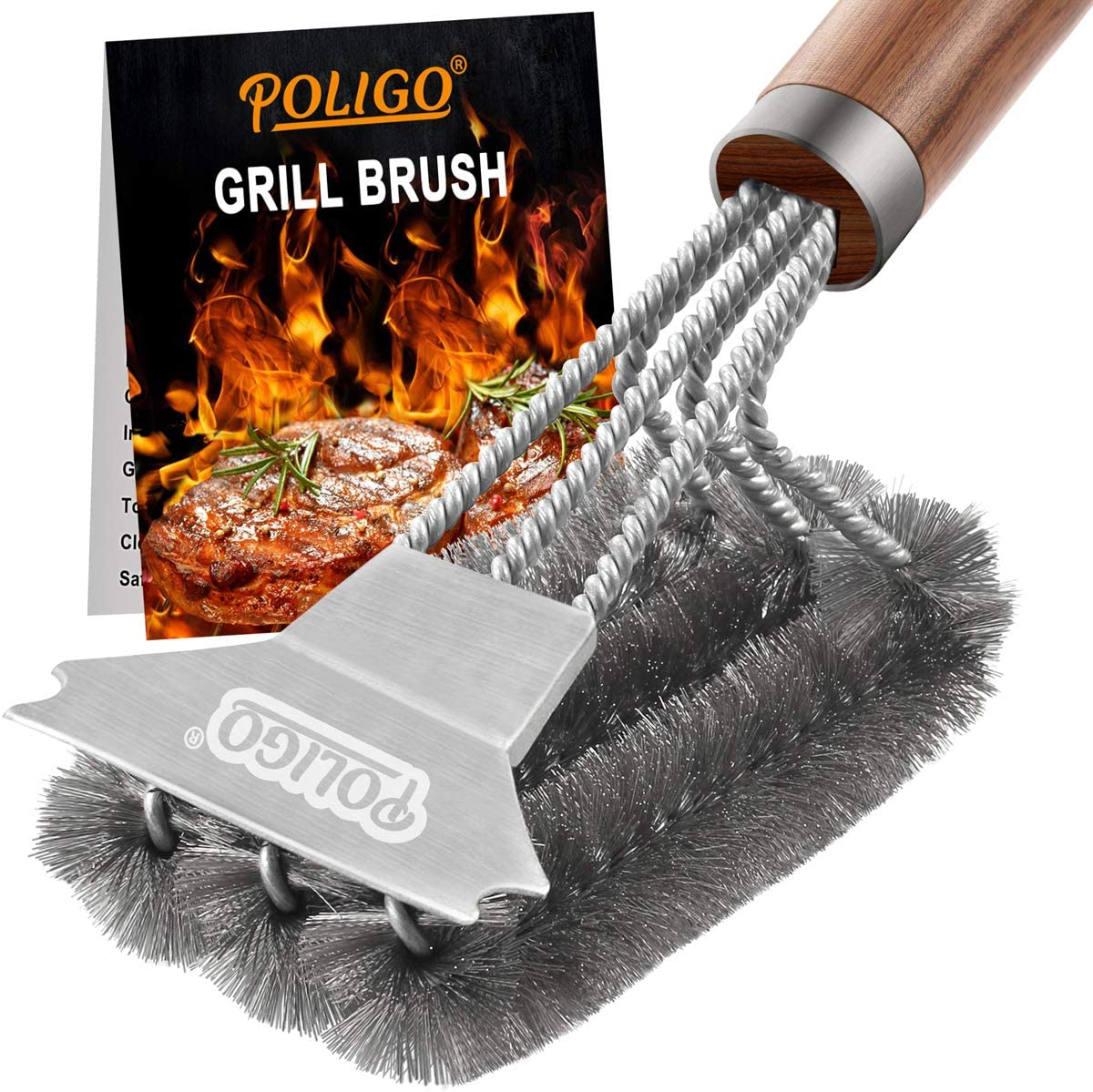 """POLIGO 18"""" Safe Grill Brush and Scraper - Stainless Steel Wire Grill Cleaner Brush Best for Gas Infrared Porcelain Cast Iron Charcoal Grilling Grates - BBQ Brush Cleaner for Grill Effortless Cleaning: Home & Kitchen"""