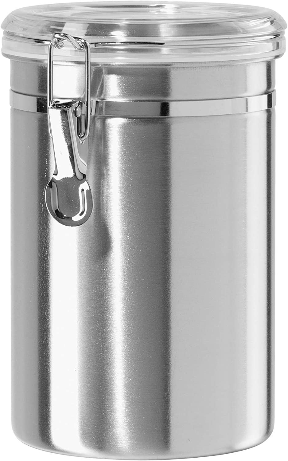 Amazon Com Oggi Clear Canister 62 Ounce Silver Stainless Steel Storage Kitchen Dining