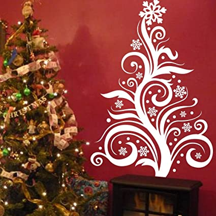 Christmas Tree Wall Decal Large Pine Tree Tree Wall Tattoo Matte Vinyl Decal Black 44 Tall