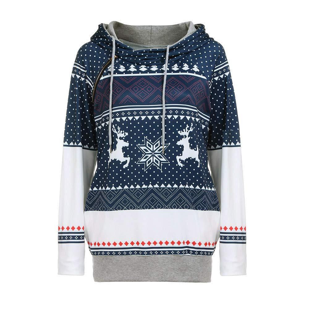 Damen Weihnachten Hoodie Sannysis Schnee Kapuzenpullover Langarm Kapuzenshirt Lässig Sweatshirt Pullover Bluse Sweater Tops