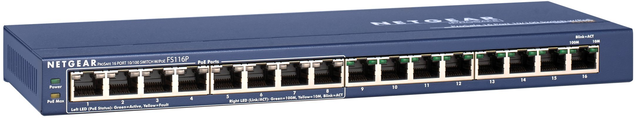 NETGEAR 16-Port Fast Ethernet 10/100 Unmanaged PoE Switch (FS116PNA) - with 8 x PoE @ 70W, Desktop, and ProSAFE Limited Lifetime Protection by NETGEAR
