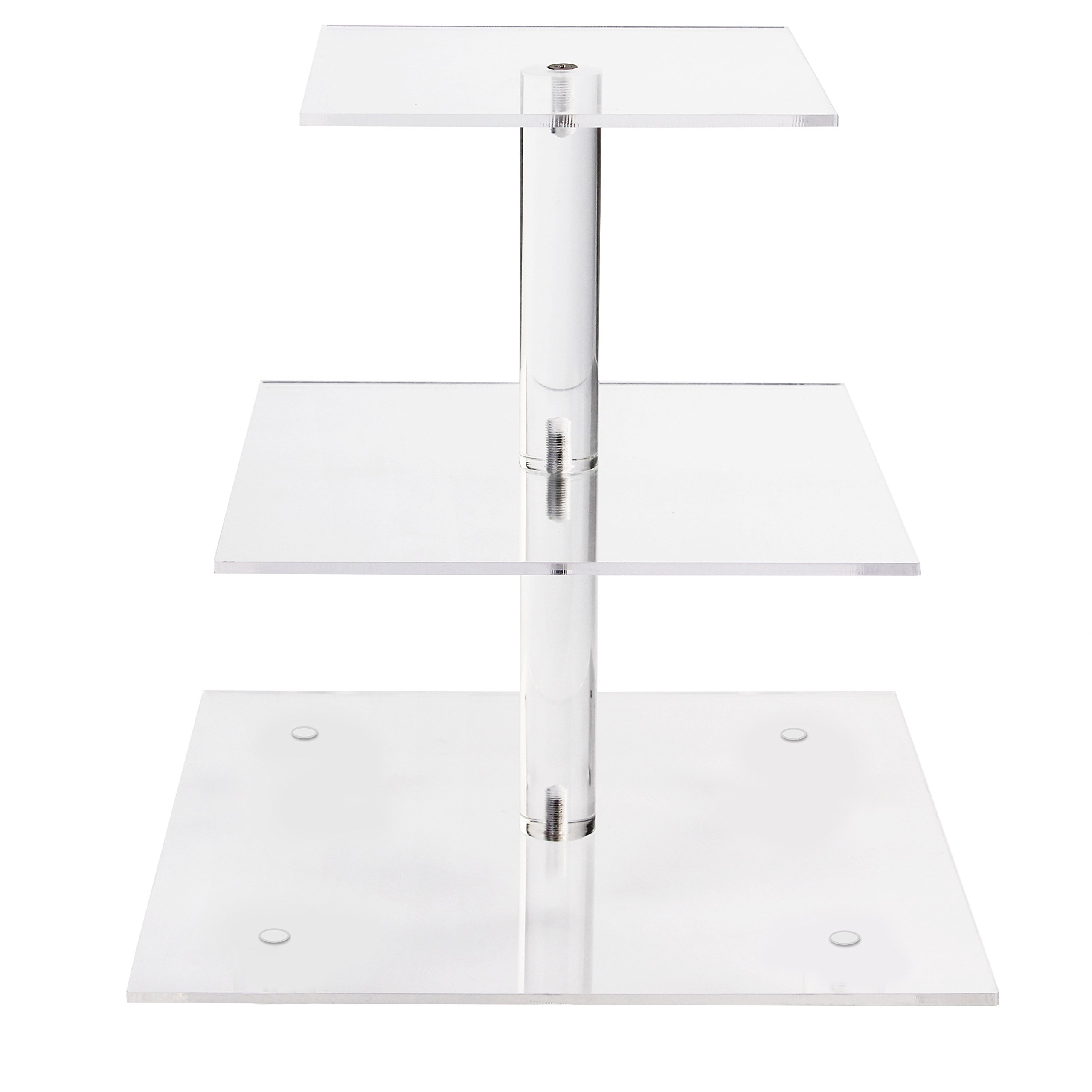 YestBuy 3 Tier Maypole Square Wedding Party Tree Tower Acrylic Cupcake Display Stand 3 Tier Square(4.7'' between 2 layers)