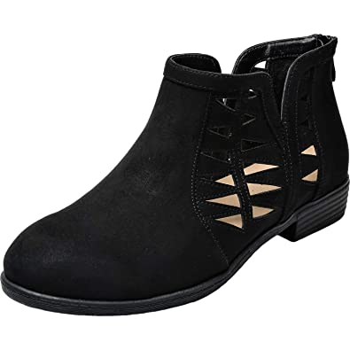 bd92f3bbfea3 Aukusor Women s Wide Width Ankle Booties - No Heel Slip On Cozy Spring Boots .(