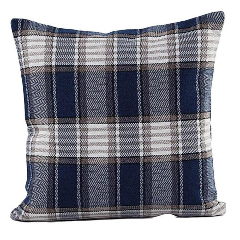 Decor Pillow Case, Howstar Linen Square Pillow Cover for Sofa Plaid Decorative Cushion Cover 18 x 18 Inch (Navy)