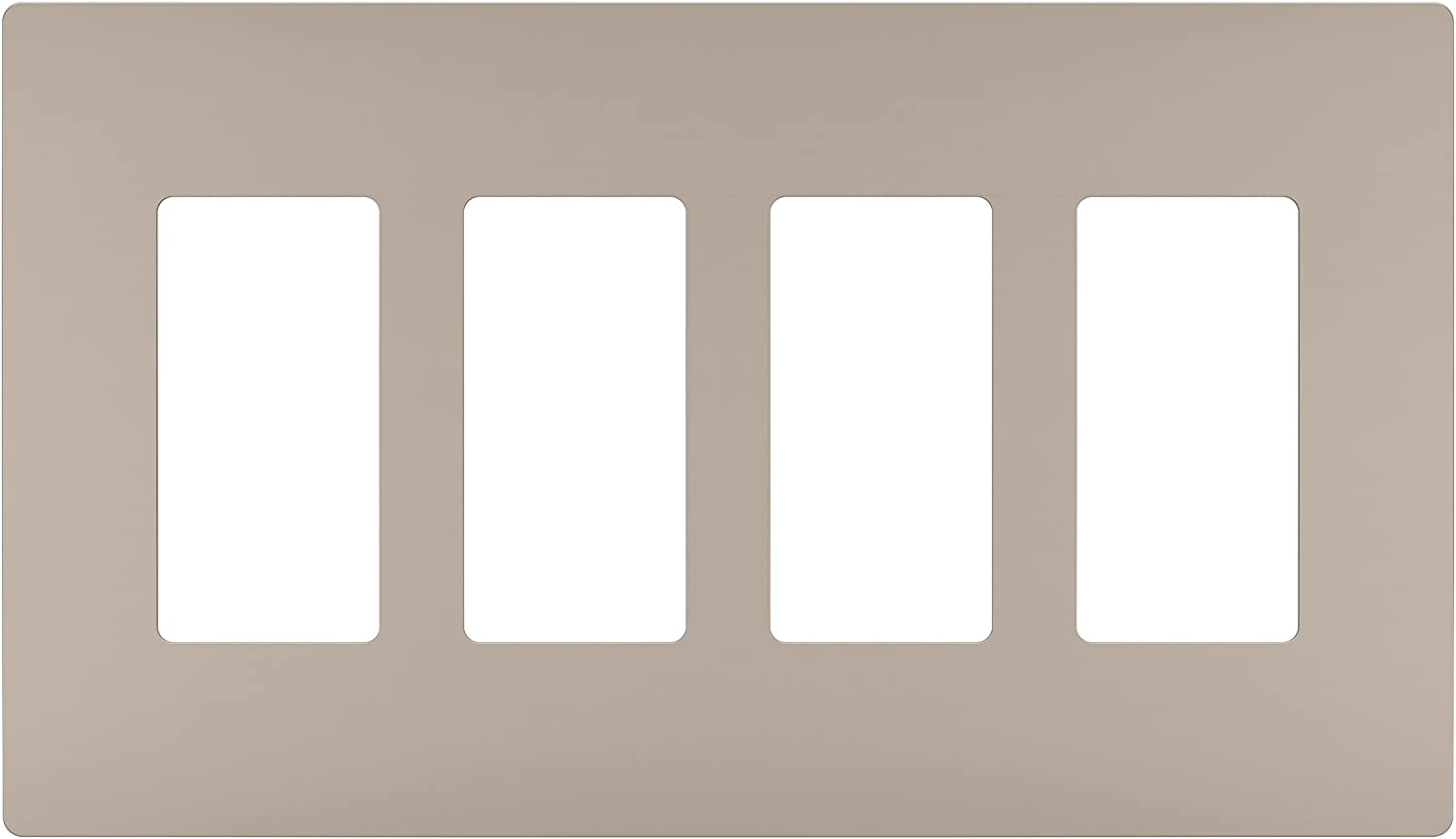 Legrand radiant Screwless Wall Plates for Decorator Rocker Outlets, 4-Gang, Brushed Nickel, RWP264NICC6