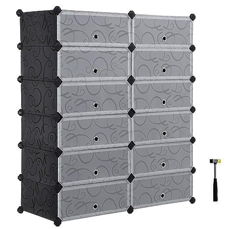 Songmics Shoe Rack Diy Plastic Storage Organizer Modular Closet Cabinet With Doors Black Ulpc26h