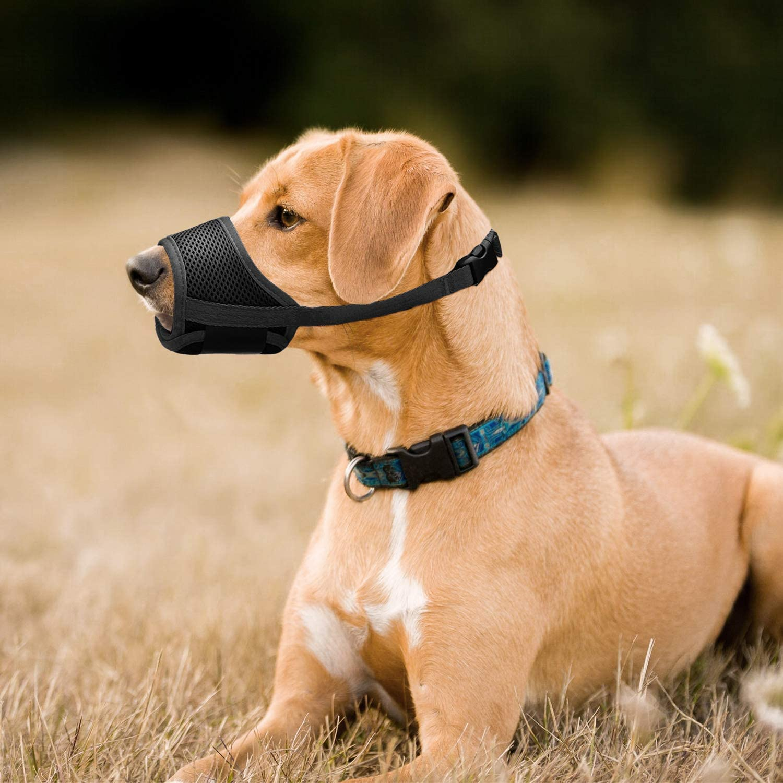 mit Verstellbarer Schlaufe Atmungsaktives Mesh Weiches Gewebe Vermeidert Bei/ßen Bellen und Essen IREENUO Hunde Maulkorb