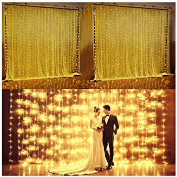 Amazon.com : 3M*3M Curtain Lights, 304 led Icicle Lights Christmas ...