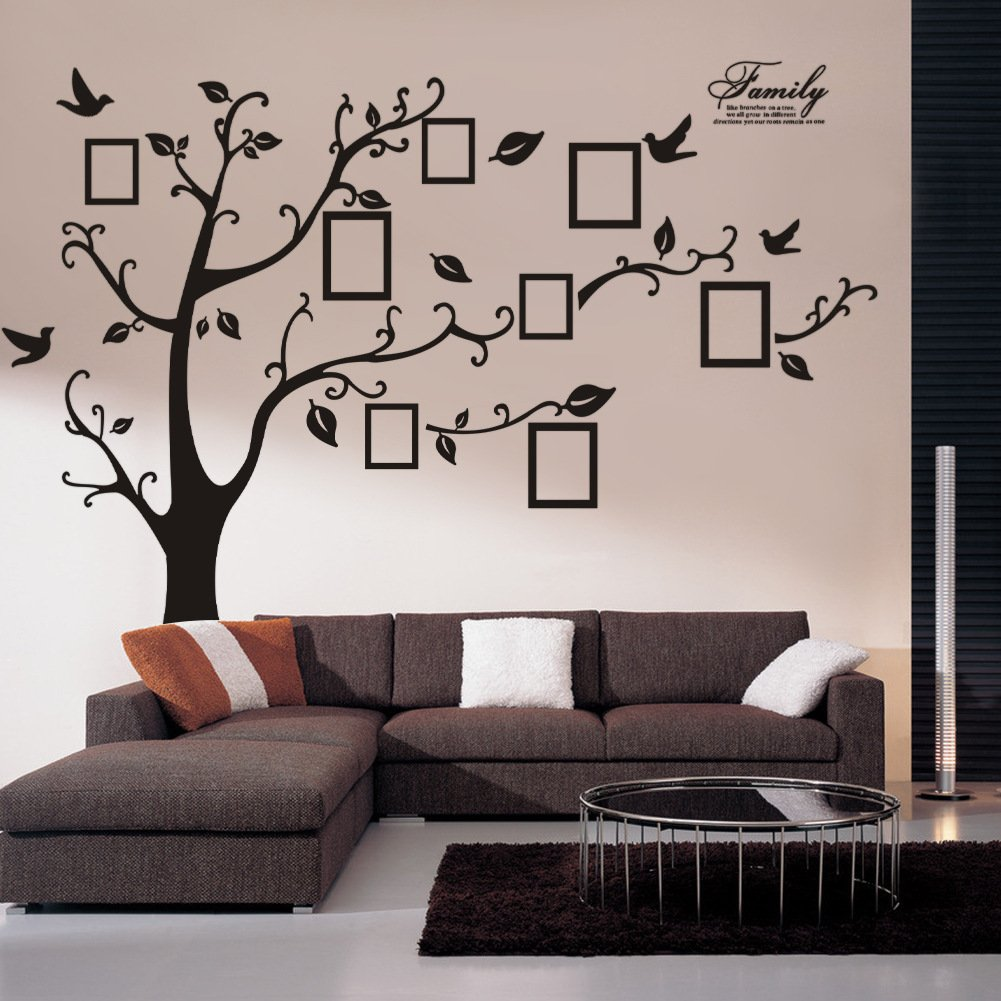 Amazon wall decals art stickers waterproof huge size family amazon wall decals art stickers waterproof huge size family photo frame tree and birds pattern for home kitchen bedroom living room decor home amipublicfo Choice Image
