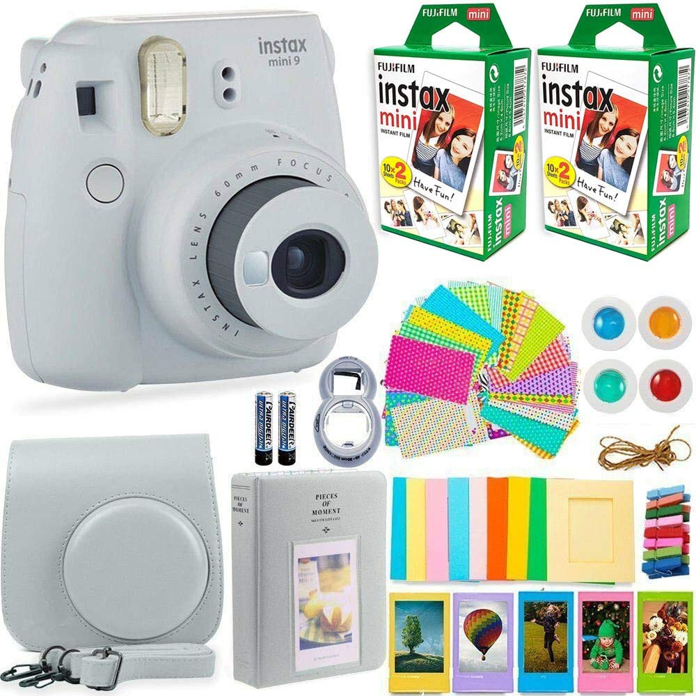 A picture of an Instax mini in white color with extra films, carry bag, and other accessories.