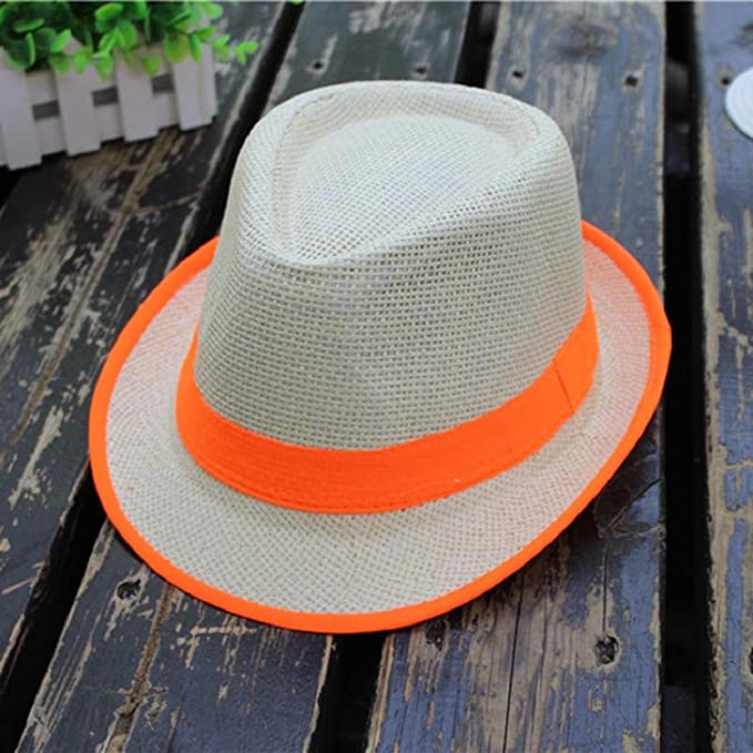 3e4f33b0ebe10b Amazon.com: ShenPourtor Women/Men's Summer Cool Short Brim Straw Fedora Sun  Hat WIth Stylish Hat Band (#Orange): Toys & Games