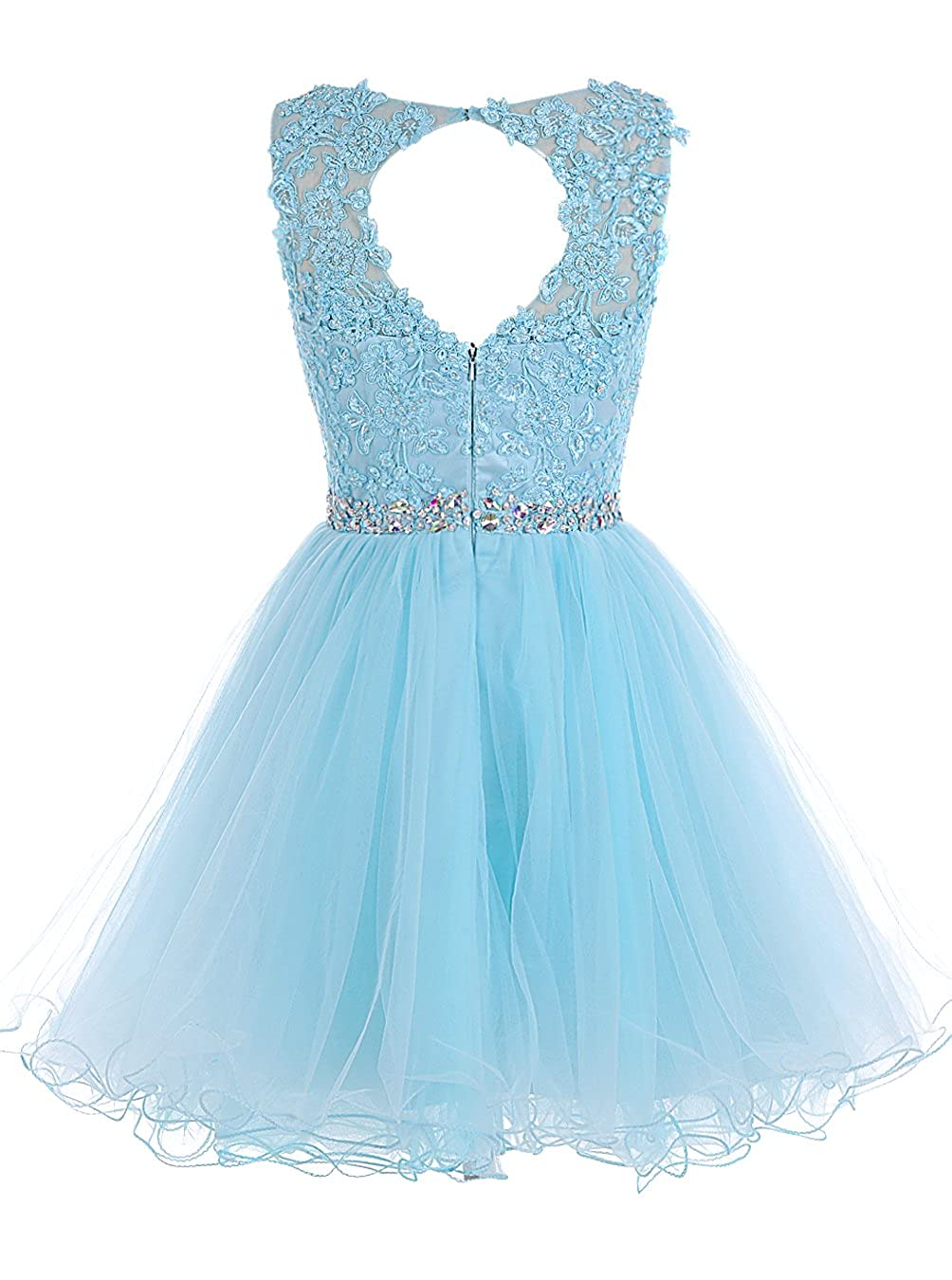 7ed23107e017 Amazon.com: Tideclothes ALAGIRLS Short Beaded Prom Dress Tulle Applique  Homecoming Gowns: Clothing