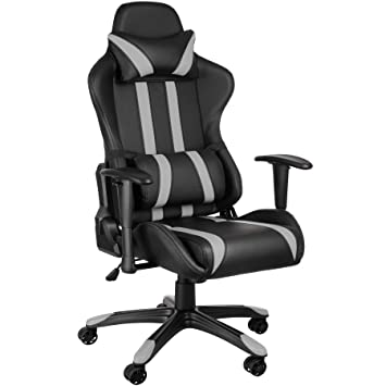TecTake Silla de oficina ergonomica racing gaming con soporte lumbar - disponible en diferentes colores - (negro gris | no. 402231): Amazon.es: Hogar