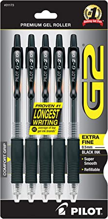 Extra Fine Point 5-Pack Black Ink PILOT G2 Premium Refillable /& Retractable Rolling Ball Gel Pens - New 31173