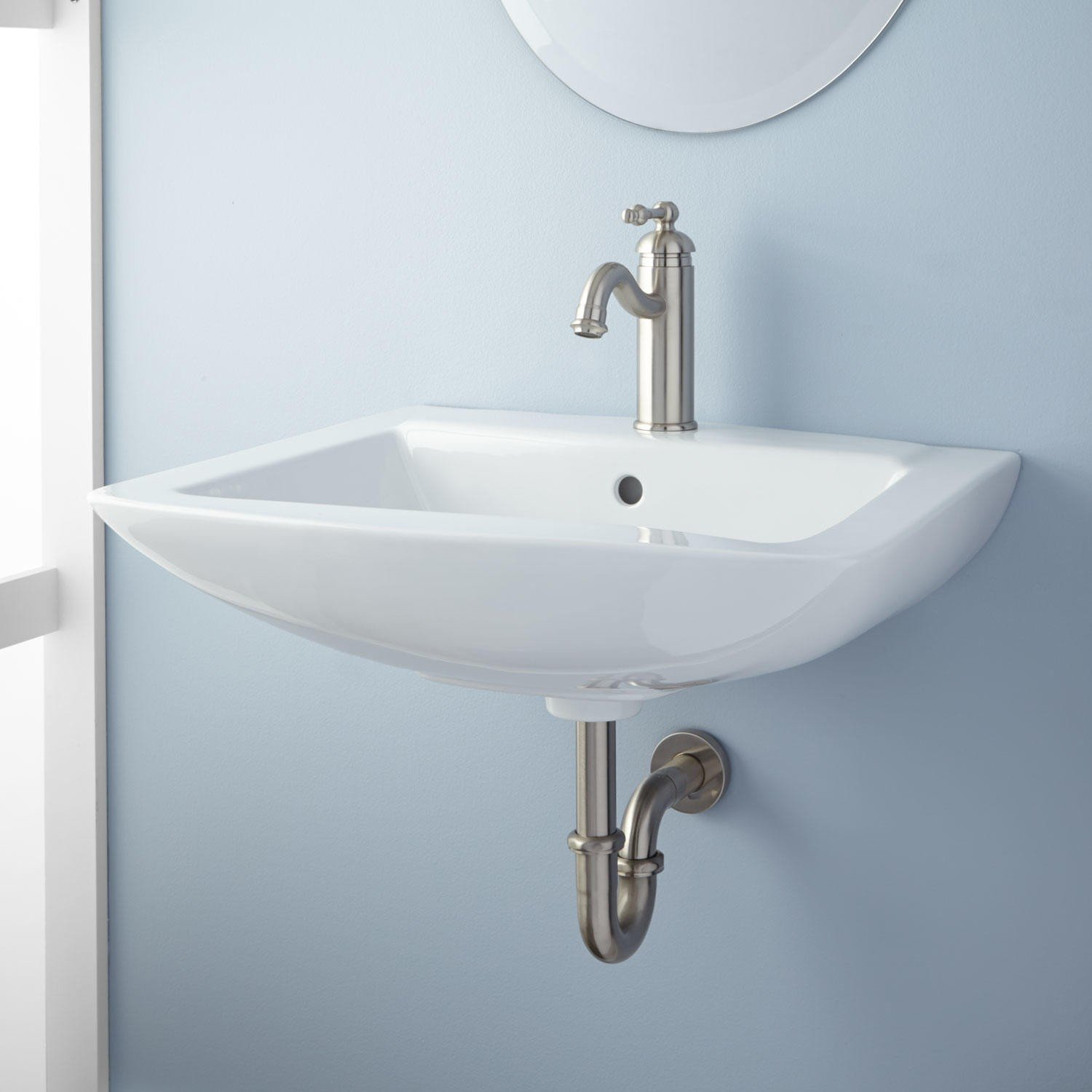 Naiture Porcelain Irregular Wall-Mount Bathroom Sink With ...