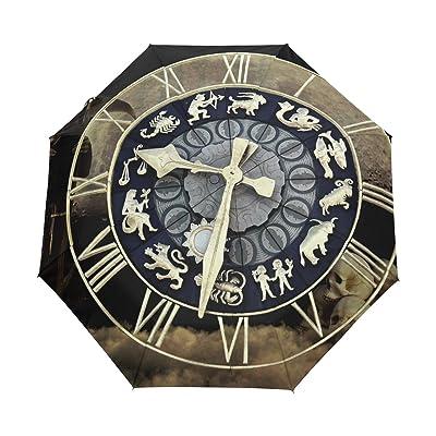 DEYYA Death Clock Skull Song Custom Foldable Sun Rain Umbrella Wind Resistant Windproof Folding Travel Umbrella