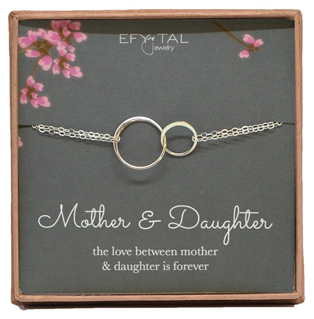 Mother Daughter Bracelet - Sterling Silver Two Interlocking Infinity Circles, Mothers Day Jewelry Gift Efy Tal Jewelry silver 2 circle bracelet