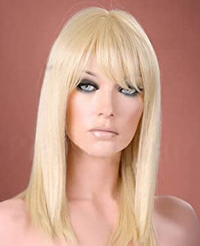 Forever Young Ladies Long Straight Side Bangs Fringe Light Blonde Fashion  Wig 3ca3b502fa08