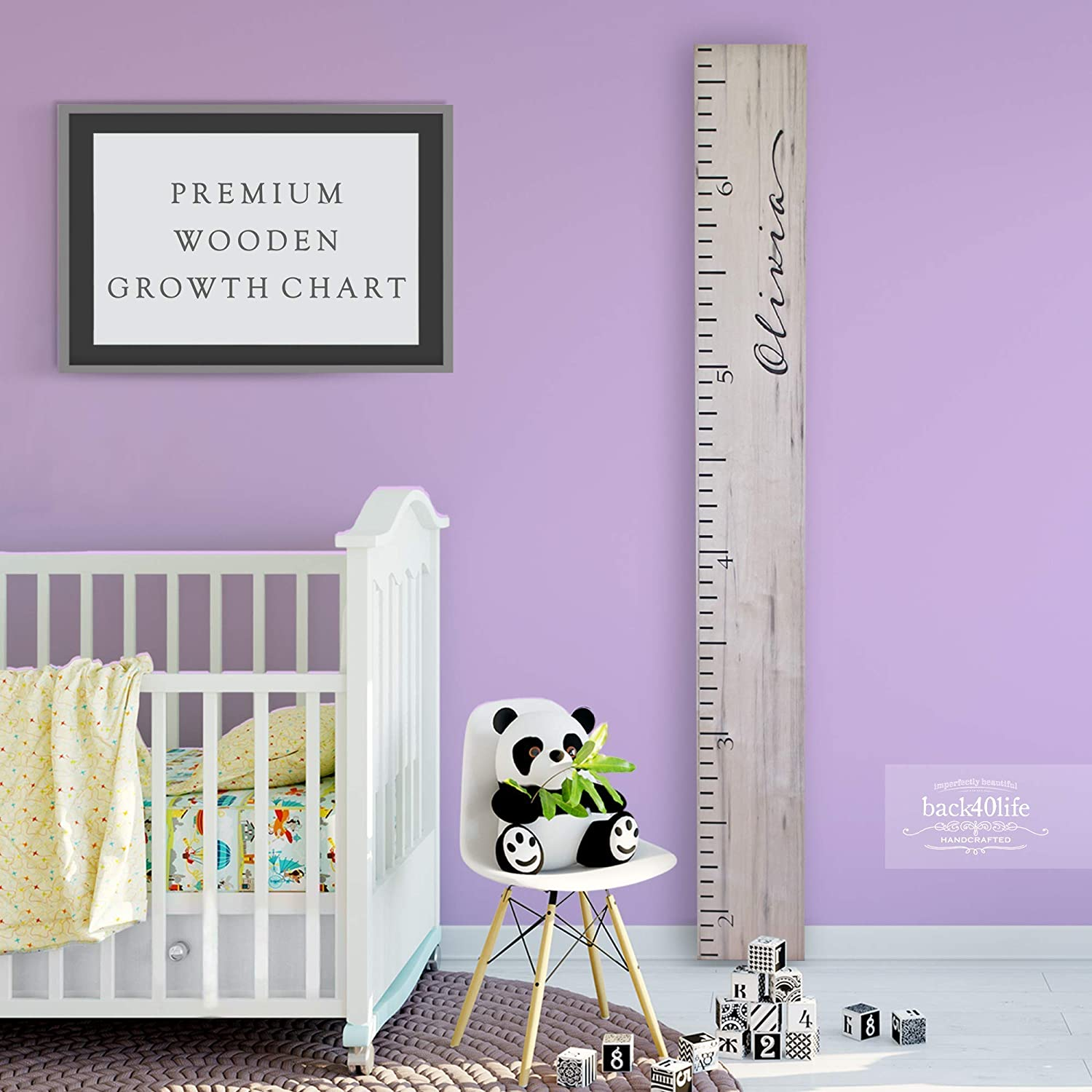 The Maggie - Woodland Creatures Wooden Kids Growth Chart Ruler for Boys and Girls Painted or Engraved Back40Life
