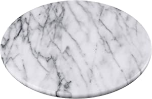 "Creative Home Natural Marble 8"" Diam. Trivet, Cheese Board, White (patterns may very)"