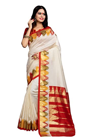 d502a558925e7 Applecreation Women s Silk Cotton Saree With Blouse Piece (Bhagalpuri  Sarees 7Pj5009 Off-White Free Size)  Amazon.in  Clothing   Accessories