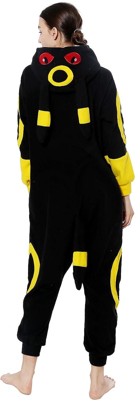 vavalad Adult Umbreon Unisex Onesie Pajamas Cosplay Animal Homewear Sleepwear Jumpsuit Costume for Women Men