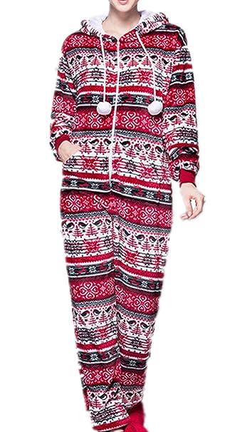 L-Peach Pijama de Una Pieza Copo de Nieve Mono Onesie Jumpsuit con Capucha para Mujer Cierra con Cremallera Delantera sin Calzado: Amazon.es: Ropa y ...