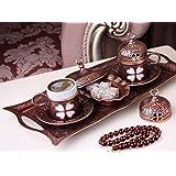 Premium Turkish Greek Arabic Coffee Espresso Serving Set (Antique Brown)