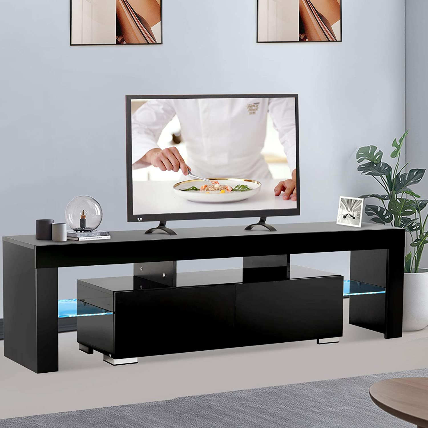 Mecor Modern Black TV Stand with Lights LED TV Stand with Storage and 2 Drawers.High Gloss TV Stand for 65 Inch TV Living Room Furniture