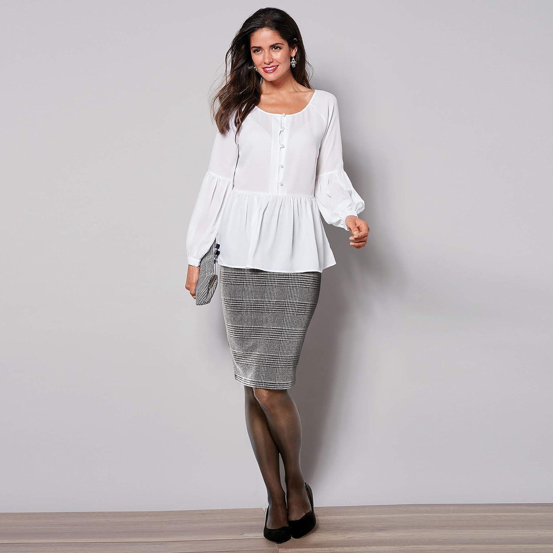 VENCA Falda lápiz Corte Midi Mujer by Vencastyle - 018623, Cuadros ...