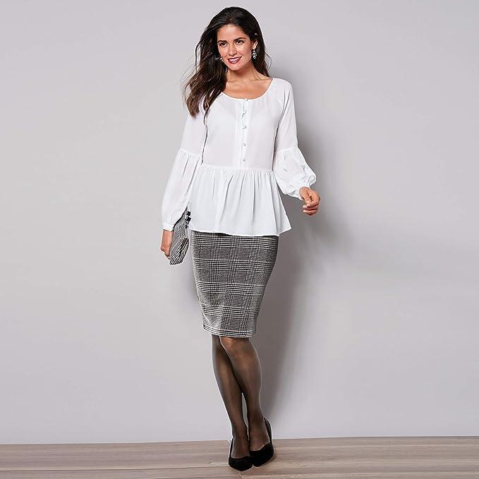 cc93d8d480 VENCA Falda lápiz Corte Midi Mujer by Vencastyle - 018623,Cuadros Negro/ Blanco,
