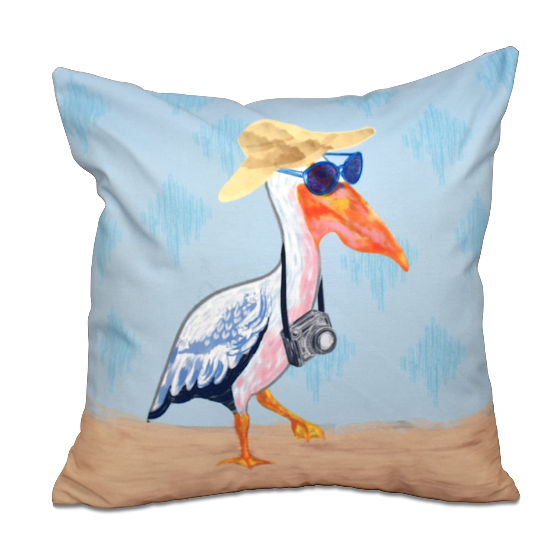 E by design PAN462BL24-26 26 x 26 inch, Bernadette, Animal Print Pillow 26x26 Blue