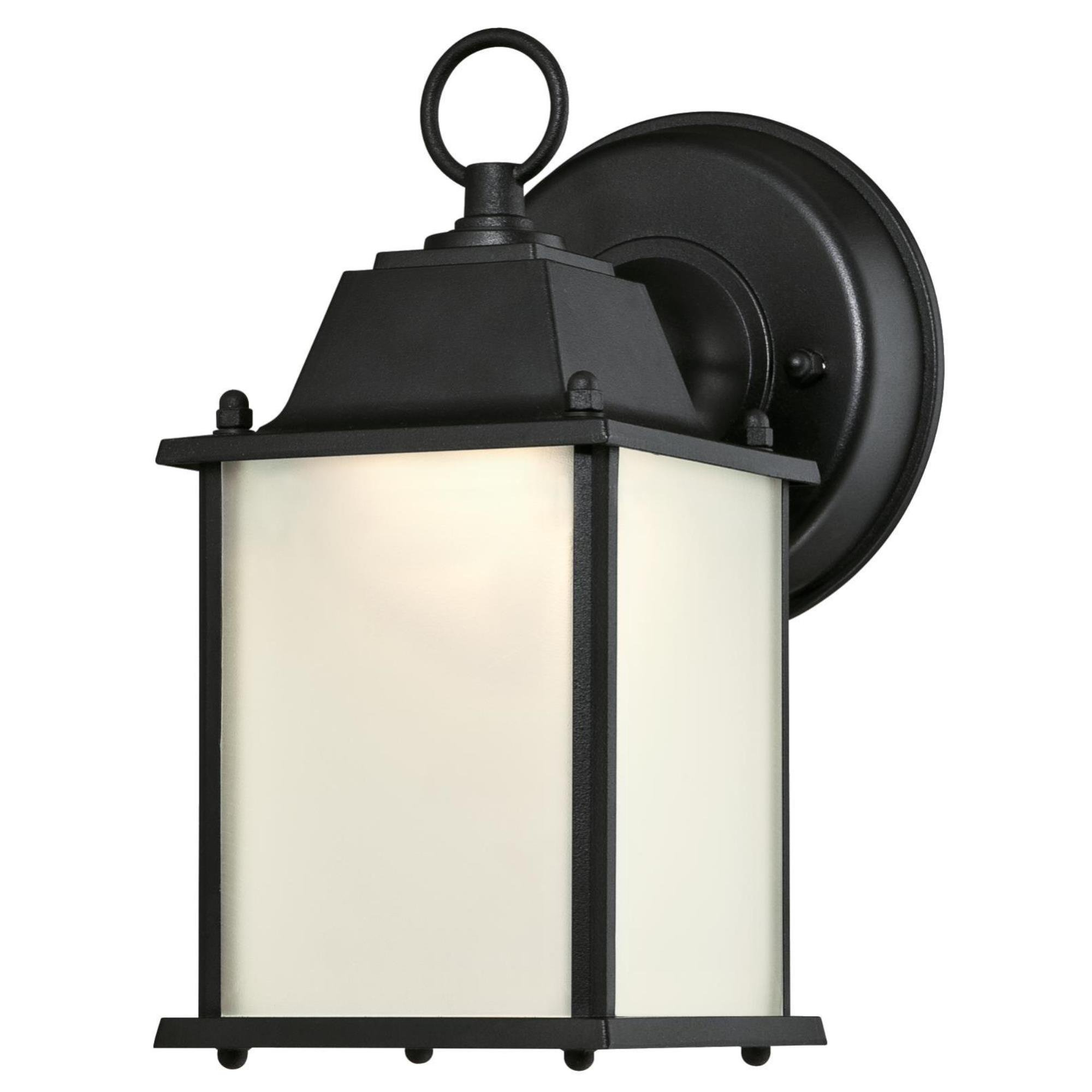 Westinghouse 6107500 One-Light Energy Star LED Outdoor Wall Fixture, Textured Black Finish with Frosted Glass