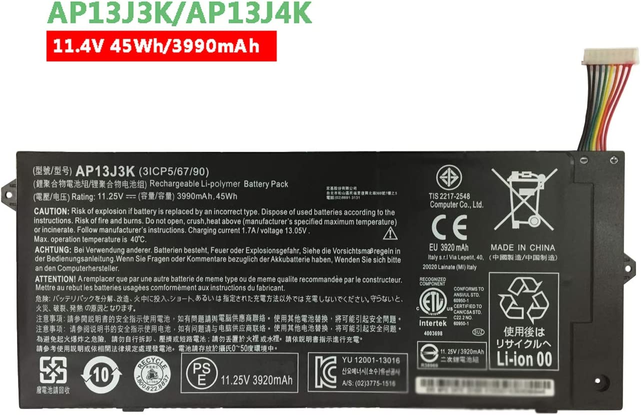 "Dentsing AP13J3K (11.4V 45Wh/3990mAh) Laptop Battery Compatible with Acer Chromebook 11.6"" 11 C740 C720 C720P Series Notebook AP13J4K KT.00304.001 KT.00303.001"