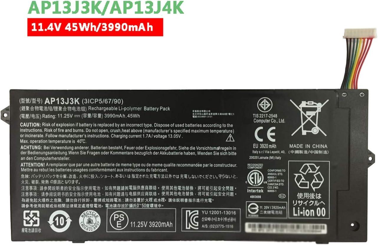 """Dentsing AP13J3K (11.4V 45Wh/3990mAh) Laptop Battery Compatible with Acer Chromebook 11.6"""" 11 C740 C720 C720P Series Notebook AP13J4K KT.00304.001 KT.00303.001"""