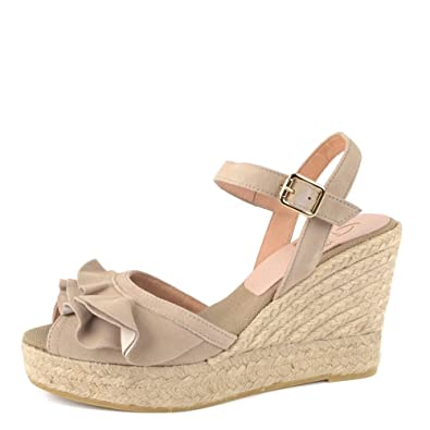b119975455b Kanna Evita Taupe Suede Wedge Espadrille Sandal  Amazon.co.uk  Shoes ...