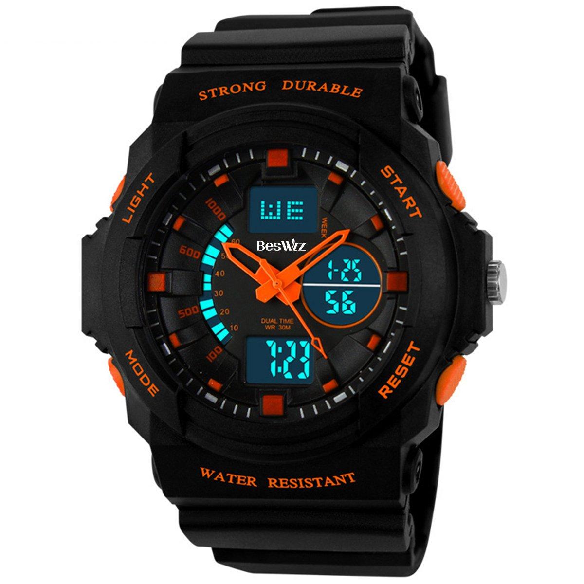 BesWLZ Multi Function Digital LED Quartz Watch Water Resistant Electronic Sport Watches Child Orange by BesWlz (Image #1)