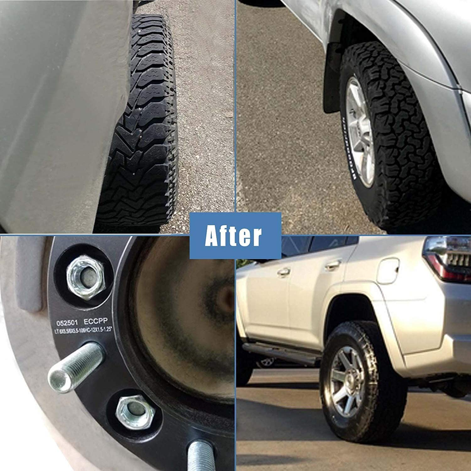 ECCPP 4x 6x5.5 Hubcentric Wheel Spacers 6 lug 1.5 6x139.7mm to 6x139.7mm 12x1.5 Studs fits for 2001-2006 Toyota Tundra Toyota Tacoma Toyota Sequoia Toyota 4-Runner 4X