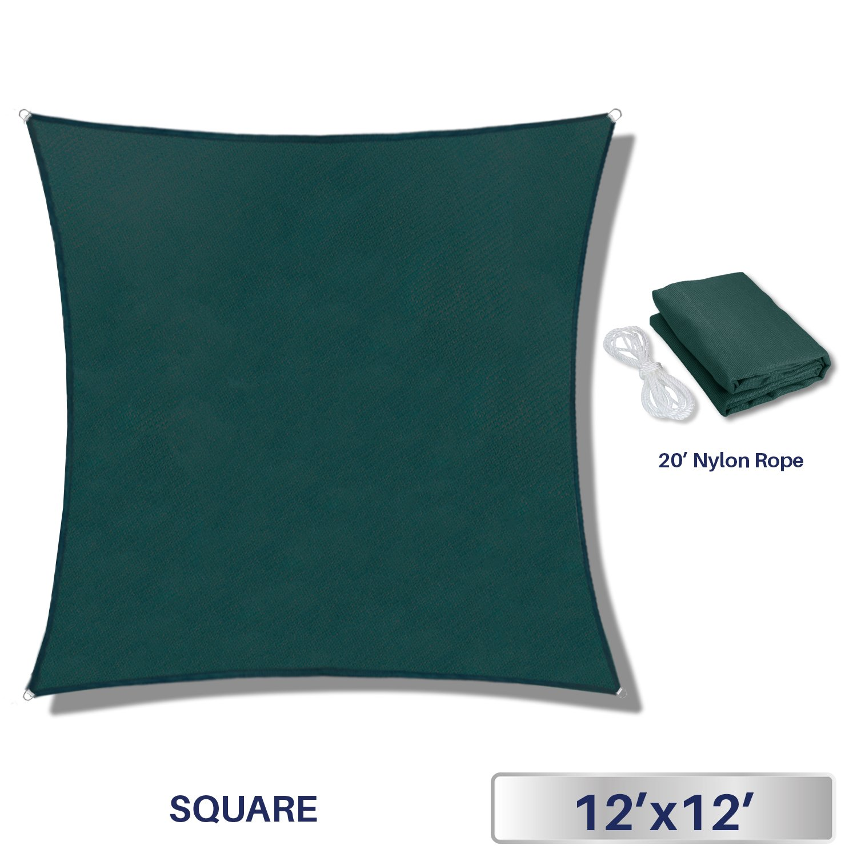 Windscreen4less 12' x 12' Sun Shade Sail UV Block Fabric Canopy in Green Square Patio Garden Customized 3 Year Limited Warranty