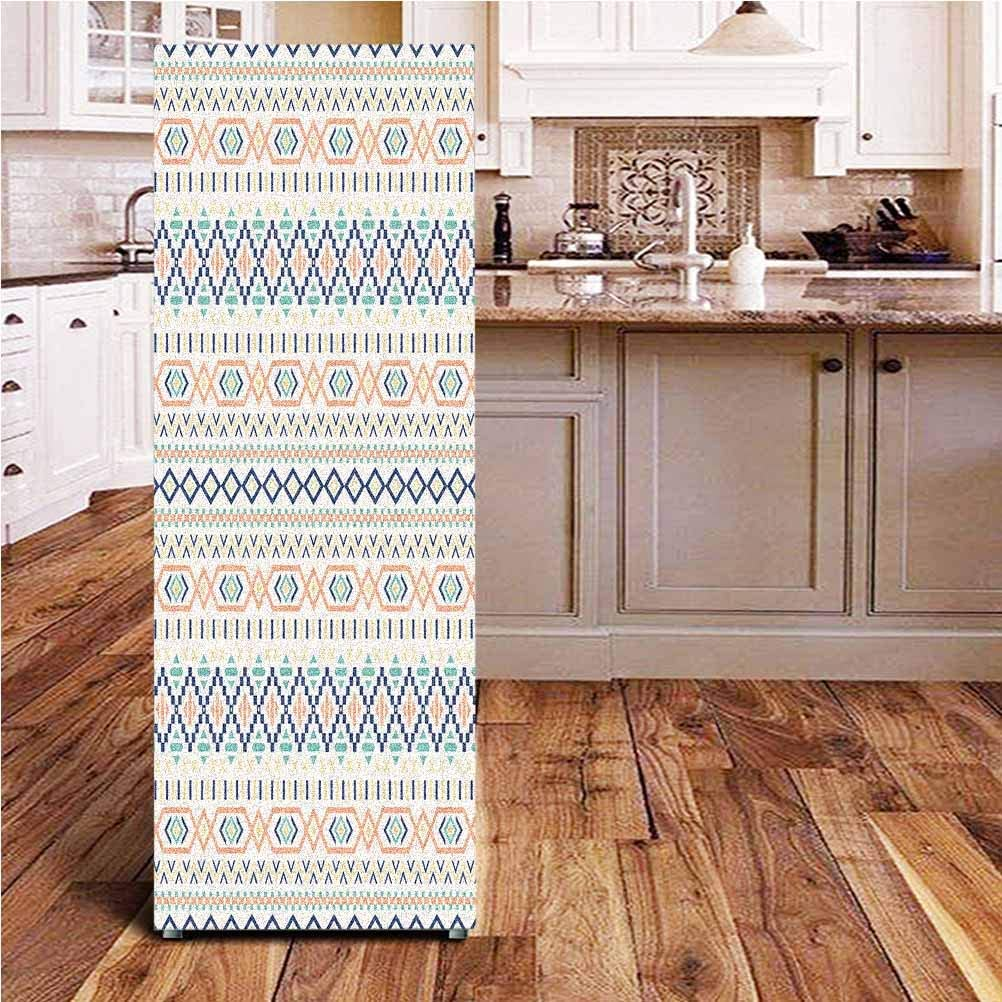 Angel-LJH Geometric ONE Piece Door Sticker,Tribal Culture Primitive Native American Old Fashioned Lines and Squares Design Wall Decal Hallway Mural for Door/Wall/Fridge,24x59