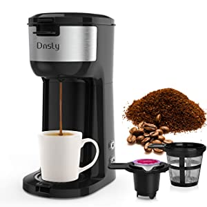 Dnsly Coffee Maker Single Serve, K-Cup Pod & Ground Coffee 2 in 1 Coffee Machine, Strength-Controlled Self Cleaning Function, Advanced Black