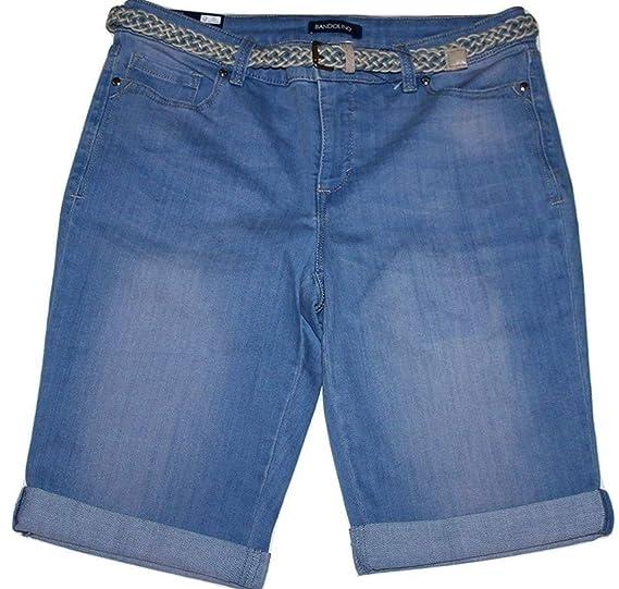 8d83bab350e Bandolino Riley Women s Light Wash Denim Blue Bermuda Shorts with Belt and  13 quot  ...