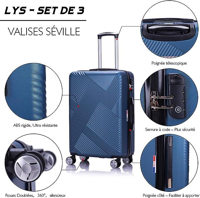 Set de 3 Valises Extensibles Rigides ABS 4 Roues doubl/ées Bleu LYS