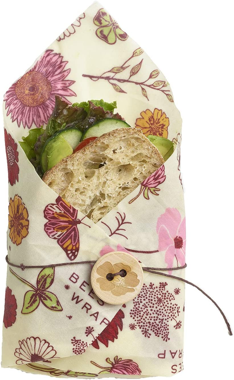 Bee's Wrap Vegan Sandwich Wrap, Eco Friendly Reusable Organic Plant-Based Food Wrap, Sustainable, Zero Waste, Plastic Free Alternative for Wrapping Sandwiches (Meadow Magic Print)