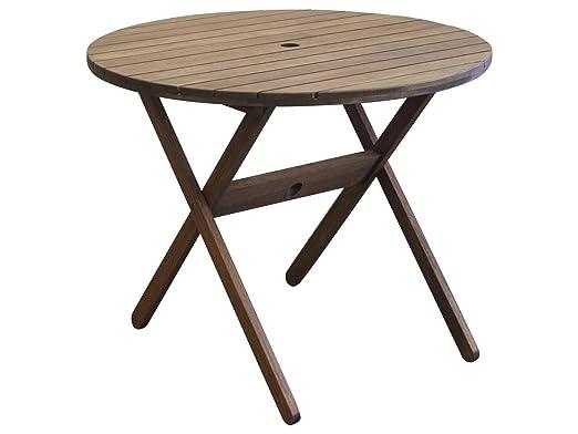Timbo Mestra madera al aire libre Patio redondo mesa plegable ...