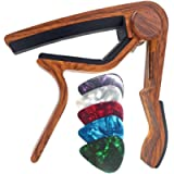 WINGO Wooden Guitar Capo for 6-String Acoustic Electric Guitars,Bass,Ukulele -Rosewood Free 5 Picks