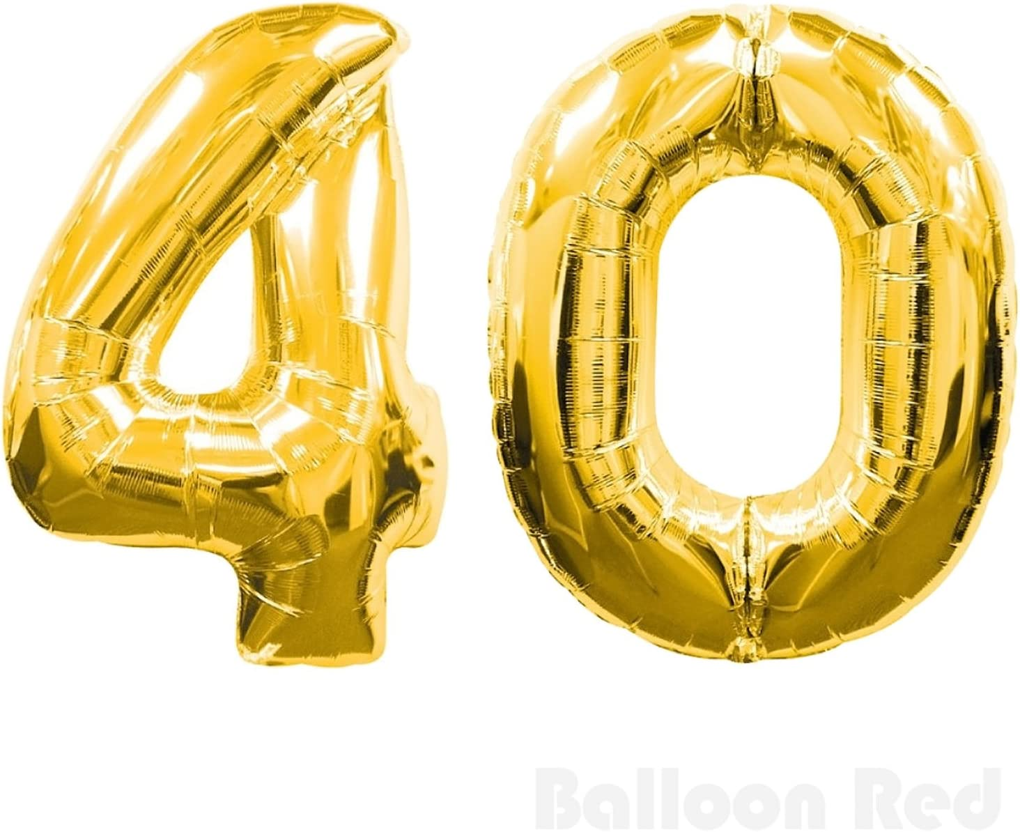 30 Inch Foil Mylar Balloons for Wall Decoration (Premium Quality, Air or Pure Helium Fill Only), Glossy Gold, Number 40