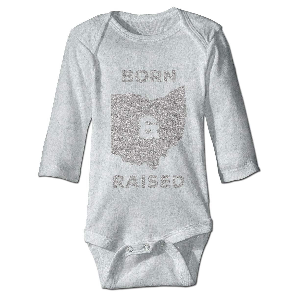 XHX Babys Ohio Born and Raised Long Sleeve Romper Onesie Bodysuit Jumpsuit
