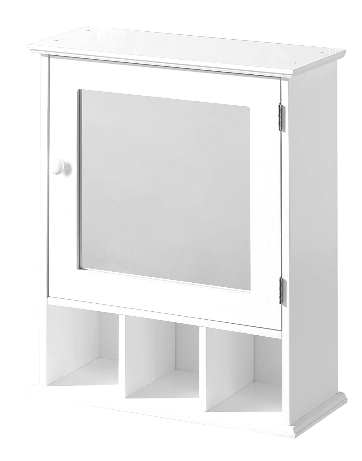 Premier Housewares Bathroom Cabinet with Mirrored Door and 3 Compartments, 58 x 46 x 20 cm - White 2401451 PREM-2401451_White