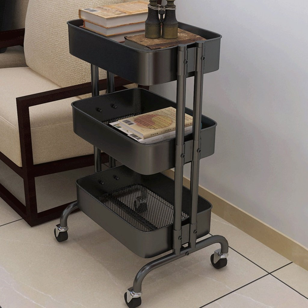 DGF Storage rack, kitchen bathroom rack, floor four wheel movable L60cm W32cm H77cm ( Color : Black )